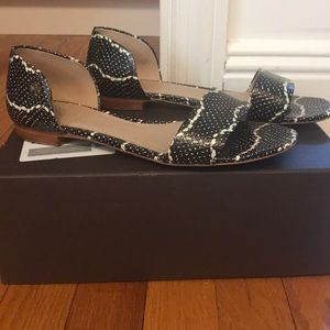 Tory Burch Black and White Snake Sandals